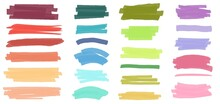 Marker Lines. Color Ink Pen Brush Strokes, Underlines. Colorful Highlight Markers Hand Drawn Stripes Scribble Line Element Vector Set. Permanent Paint Borders. Doodle Brushstrokes Isolated On White