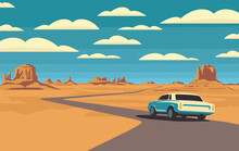 Vector Landscape With A Highway And A Passing White Car In The Desert With Mountains And Clouds In The Blue Sky. Colored Cartoon Illustration With A Barren American Scenery And An Endless Road