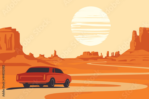 Foto Hot summer landscape with deserted valley, mountains, winding road and single passing car