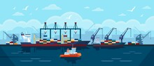 Cargo Ship In Seaport. Industrial Freight Vessel With Shipping Containers Docked At Port. Sea Transportation Industry Vector Illustration. Export And Import Business And Commercial Shipment