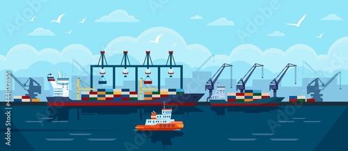 Valokuva Cargo ship in seaport