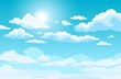 Blue sky with clouds. Anime style background with shining sun and white fluffy clouds. Sunny day sky scene cartoon vector illustration. Heavens with bright weather, summer season outdoor