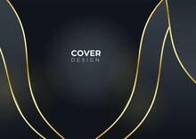 Moder Gold Black Abstract Background. Black Abstract Background With Golden Lines. Black Gold Background Overlap Dimension Abstract Geometric Modern. Elegant Navy Black Gold Background