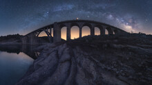 Milky Way Over Arched Stone Bridge