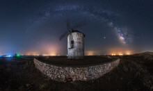 Starry Sky With Milky Way Over Old Windmill