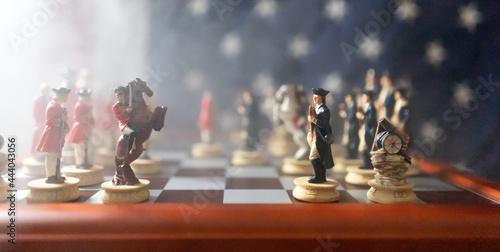 Battle between America and England chess match Fototapet