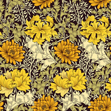 Floral Seamless Pattern With Big Golden Flowers And Foliage On Dark Background. Vector Illustration.