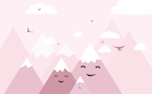 Wallpaper For A Children's Room With Clouds And Mountains. Decorative Wall For The Nursery. For Nursery Room Wallpaper, Decoration. Kids Room.