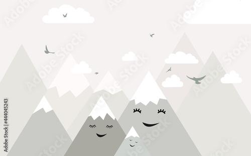 Billede på lærred Wallpaper for a children's room with clouds and mountains