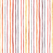 Striped Watercolor Seamless Pattern, Abstract Vertical Stripes Isolated On White Background, Print Texture.