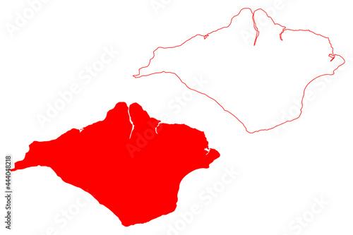 Fototapeta Isle of Wight county (United Kingdom, Ceremonial county of England) map vector i