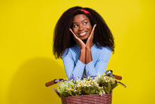 Photo Portrait Of Dreamy Girl Sitting On Bicycle With Flowers Basket Looking Copyspace Isolated Vivid Yellow Color Background