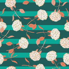 Abstract Style Nature Seamless Pattern With Random Hydrangea Flower Print. Turquoise Striped Background.