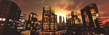 Evening City At Sunset, 3D Rendering
