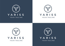 Minimalist Letter Y Logo Design Template With Circle Shape, Vector Illustration