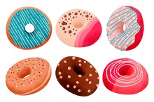 Hand Painted Watercolor Donuts Set