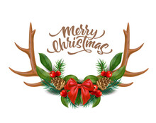 Merry Christmas Design Reindeer Horns With Bow Holly Leaves Berries Spruce Tree Twigs Pine Cones