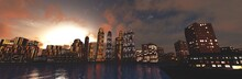 City Above The Sea At Sunrise, Evening City At Sunset, 3D Rendering