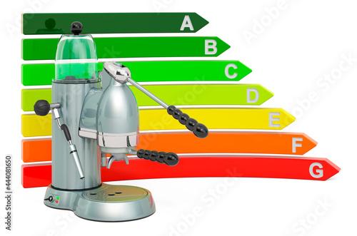 Fotografie, Obraz Coffeemaker with energy efficiency chart, 3D rendering