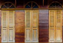 Texture Of Wood Window Background, Old Wood Window At Old City, Nang Ngam Road, Songkla, Thailand.