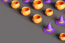 Cauldrons And Purple Witch Hat On Dark Grey Background With Copyspace