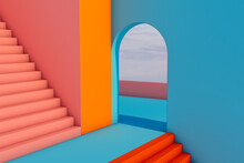 Abstract Space With Stairs And Curved Shapes In Blue