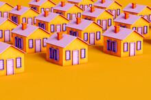 Violet And Orange House On Orange Background