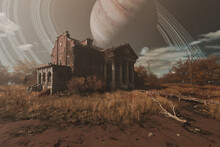 Spooky Old Mansion With Planet In Sky