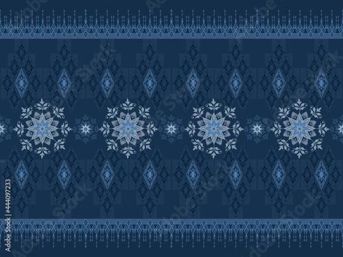 Fototapeta classic flower and geometric ethnic pattern