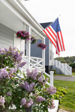 American Flag On The Porch