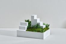 The Miniature Landscape Of A Park With Trees A Small Stair And Grass.