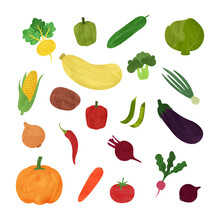 Set Of Vegetables In A Watercolor Style On A White Background. Isolated Vector Illustration