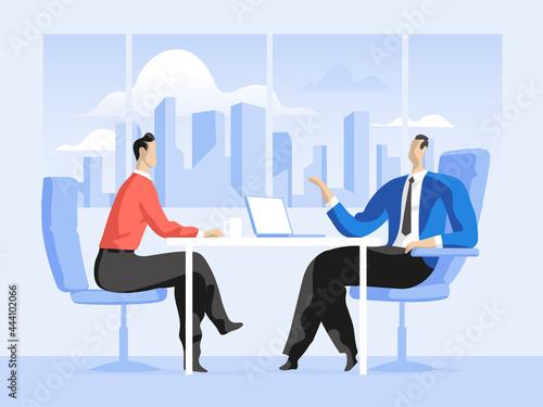 Платно Business meeting tra venditore e cliente in ufficio