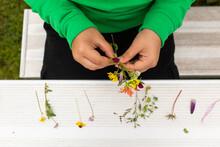 Boys Hand Organizing A Wildflower Bouquet