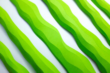 Green Paper Craft Shapes On A White Background