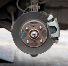 Close-up View Of Disc Brake Of Small Car