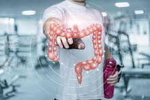 Young Fitness Athlete Clicks On The Intestines.