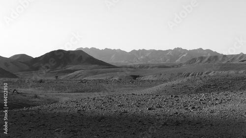 Fotografie, Tablou Monochrome View Of Arid Landscape Against Clear Sky