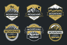 Vintage Logo Badge Set Adventure And Outdoor Mountains For Sticker, Hat, T-shirt, Poster Design