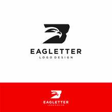 Letter B Eagle Head Logo Black Vector Color And Red Background Art