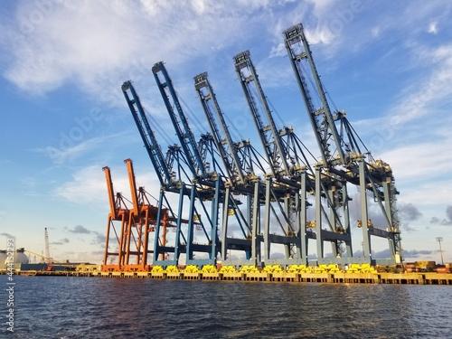 Canvastavla Cranes At Harbor Against Sky