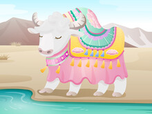 Yak By The River. Vector Illustration.