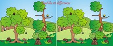 Find 10 Differences, Board Game, Animals In Nature, Vector Illustration