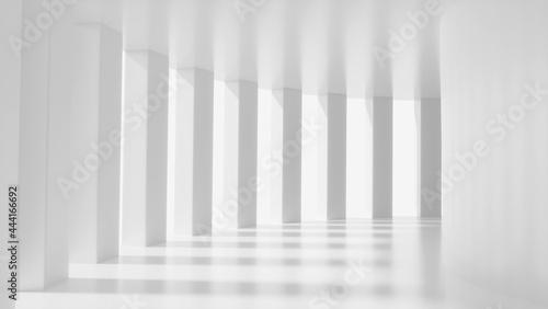 Valokuva White futuristic corridor, mock up scene, abstract sci-fi interior design, 3D re