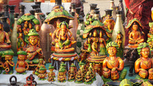 Street Shop Of Handmade Statues Of Indian Idol At Rural Village Annual Fair.