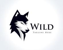 Elegant Head Wolf Profile Drawing Art Logo Design Template Illustration Inspiration