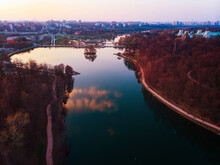 Tsaritsyno Park Reserve And Panorama Of Moscow In The Evening. Aerial View.