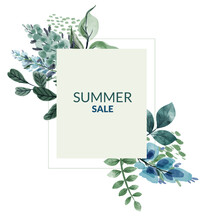 Summer Sale Banner With Blue And Greenish Flowers