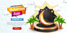 Muharram Sale Banner With 3d Podium And White Islamic Patern Background