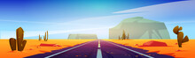 Road In Desert Scenery Landscape With Rocks And Dry Ground. Straight Empty Highway In Arizona Grand Canyon, Asphalted Way Disappear Into The Distance With Sun. Cartoon Vector Illustration